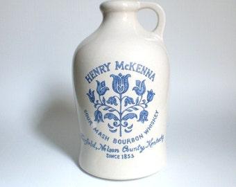 Vintage Stoneware Jug Henry McKenna Bourbon Whiskey Kentucky White Blue Flowers GallivantsVintage