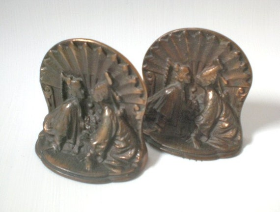 Vintage Iron Bookends Siamese Kissing Couple Set of Two