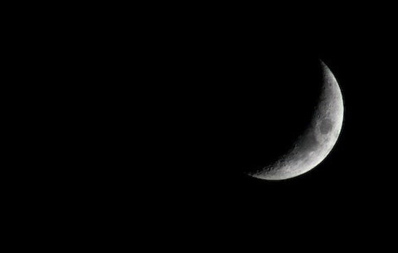 Photography Moon Crescent Moon Astronomy Photograph Black and White Luna Wall Art Home Decor 5x7 Fine Art Photography Print