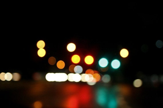 Bokeh Lights Photography Fine Art Print Urban Decor Home Decor Wall Art Abstract Art Night Photograph