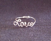Love Ring, Sterling Silver Love Ring, Wire Love Ring, Wire Name Style Ring, Any Style Cursive