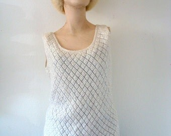 1950s-60s Beaded Sweater - ivory wool sequin knit top - shimmy shake