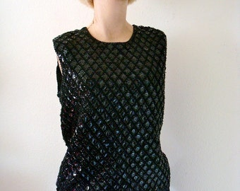 1950s Wool Sweater / Sequin Knit Top / twilight twinkle
