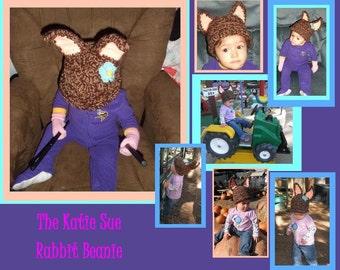 The Katie Sue: Deluxe Children's Rabbit beanie- Made to Order