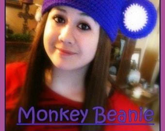 Monkey Beanie- Custom made to order