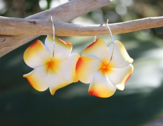 Orange Flower Earrings Plumeria Frangipani Floral Earrings Hawaii Jewelry Hawaiian Jewelry Tropical Flower Flower Jewelry Floral Jewelry 131