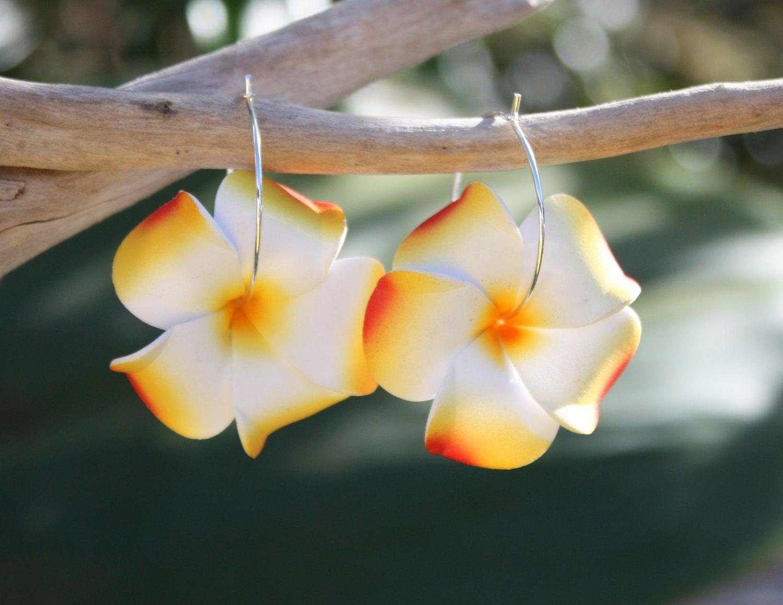 Orange Flower Earrings Plumeria Frangipani Floral Earrings Hawaii