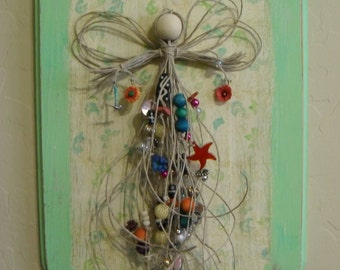 Angel in Hemp Cord and Beads on Wood