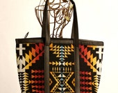 Sale! Native American Inspired Tote Bag Famous Woolen Mill Fabric and Leather