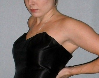 80S COUTURE Silk Black And White Strapless dress