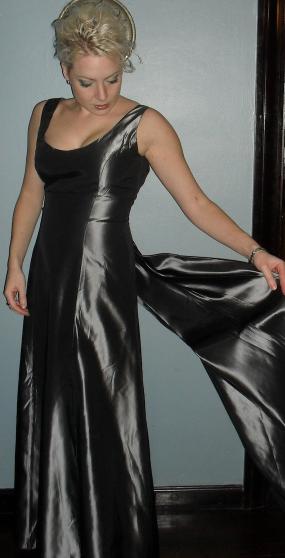 SALE----SALE---Silver Taffeta-----Gown With a tail