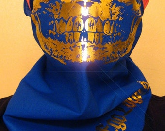 Blue cotton bandana with all solid Gold Foil Skull Mask scarf wrap half face balaclava dust shield shemagh gaiter ski snow fashion Royal
