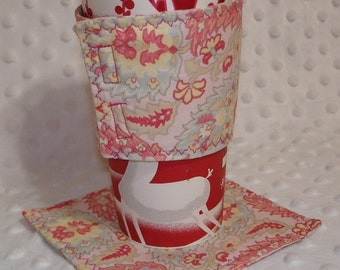 Reuseaable Coffee Cup Sleeve/Cozy & Coaster Set