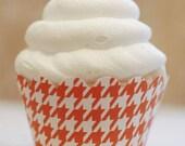 Tangerine Orange & White Houndstooth Cupcake Wrappers - Standard Cupcake Wraps Set of 24