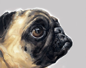 Tan Pug Giclee print - signed  Ltd. Ed