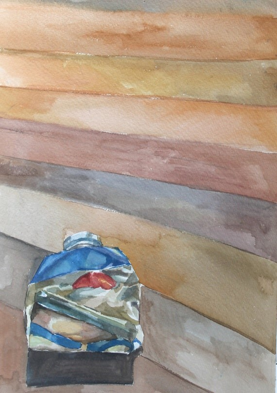 Original Watercolor Painting - Blue Paint Tube 4
