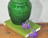 Vintage Green Glass Vase. Emerald Green Raised Floral Pattern. Farmhouse Chic.