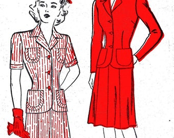 1940s Bust 34 Misses Suit Jacket Gored Skirt Long Short Sleeve Vintage Sewing Pattern New York 596 c 40s