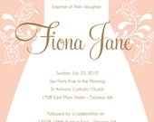 Custom Printable Baptism, Christening, or First Communion Invitations for Baby Girl - (2) Digital Files
