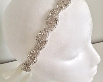 Bridal headband, crystal ribbon headband, rhinestone headband, wedding headband, bridesmaid gift, flower girl headband - WAVERLY