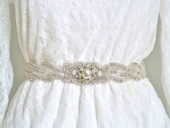 Bridal pearl crystal sash, bridal beaded sash, pearl bridal belt, pearl wedding belt, pearl wedding sash, rhinestone pearl sash- RACHEL WAVE
