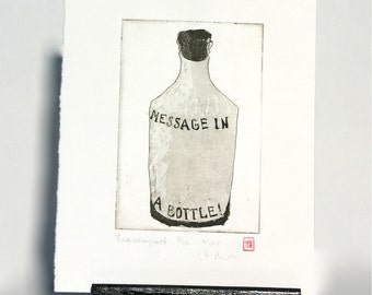 Message in a Bottle - Original Etching