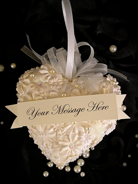 Romantic Floral Heart with Beads and Pearls in Ivory and White