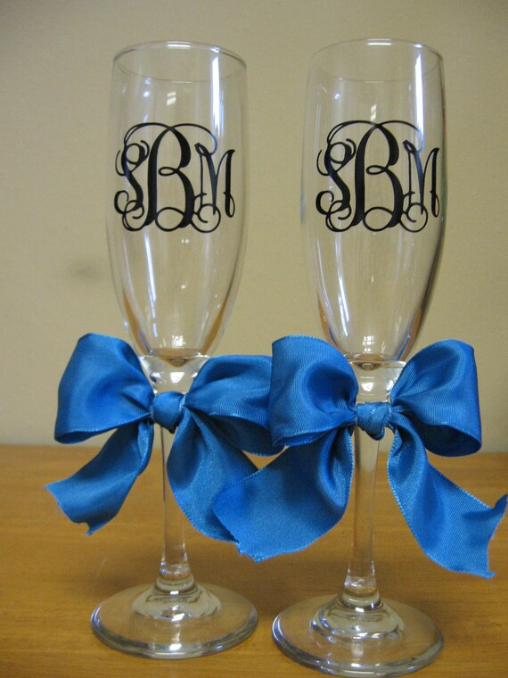 Reserved Listing for Kate...Personalized Monogram Wedding Champagne Flutes