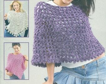 WEEKEND WEAR PONCHOS 4 Crochet Designs  Melissa Leapman Leisure Arts 3977