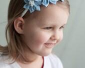 Girl headband - Light blue spring  flower girl  headband -  Kanzashi toddler headband