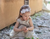 Flower girl  linen head band - White Girl Kanzashi Flower headband - Children wedding Clothing - Flower girl outfit