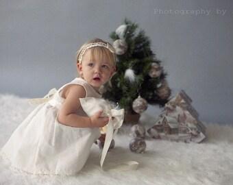 Ivory flower girl outfit - White off linen girl dress - Ivory linen girl dress - Baptism girl outfit - Champagne girl dress -Baby girl dress