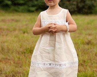 Ivory Flower girl dress - Flower girl linen ivory dress - Rustic flower girl linen dress - Special occasion toddler girl linen dress