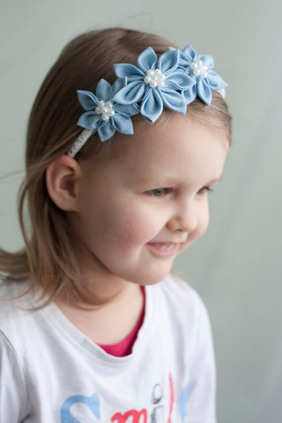 Girl headband - Light blue spring  flower girl  headband -  Kanzashi toddler headband