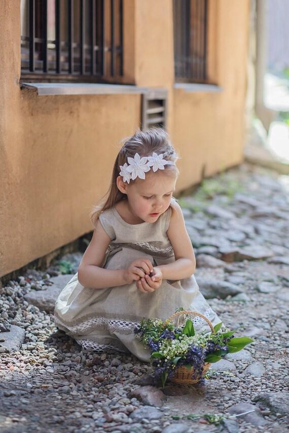 White girl headband - Flower girl headband - Baby flower headband - elastic headband - Girl spring headband - Christening headband