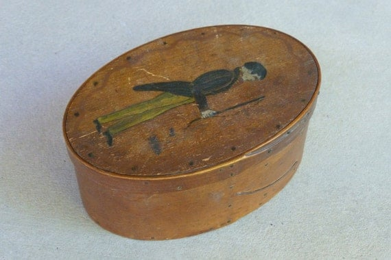 Antique FOLK ART Oval 19th Century Sewing Box with Painting of Gentleman on Lid