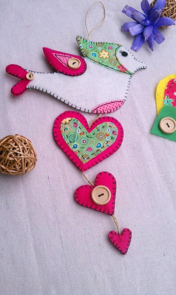 Felt Granny Bird with Hearts Hand Embroidered Door Hang