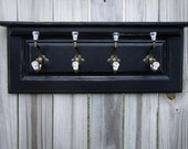 """Black Coat Rack with Shelf and Decorative Glass Ball Hooks / 30"""" x 11"""" x 4"""" / Made From Reclaimed Cabinet Door"""