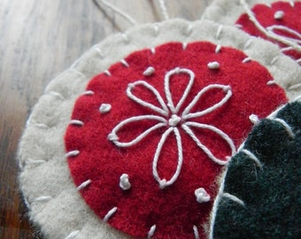 Scandinavian Felt Ornaments- Flower Embroidery- Wool Felt