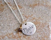 Personalized Fine Silver Name and Birthdate Round Tag and Birthstone Necklace - 1 Pendant/Birthstone