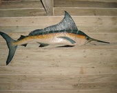 Large Blue Marlin 7 foot chainsaw wood carving coastal nautical trophy saltwater fish collectible beach decor wall mount show piece art