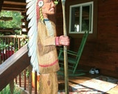 """Native American Indian 5ft. 2"""" chainsaw wood carving cigar store Indian sculpture original wall mount or stand art"""