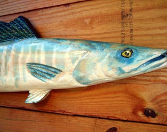 "Wahoo 40"" chainsaw art wooden fish taxidermy carving seaside villa sculpture trophy sportsfish indoor outdoor home decor wall mount"
