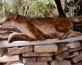 """Running Wolf 42"""" chainsaw wood carving wall mount/ stand wildlife sculpture art rustic home decor centerpiece indoor outdoor country living"""