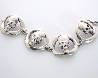 Medium RUSTIC HOOP SKULL Bracelet in Sterling Silver