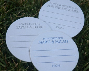 200 CUSTOM Advice Coasters, modern design (Letterpress printed, 3.5 inches circle), perfect for weddings