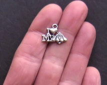 12 Love My Dog Charms Antique  Silver Tone - SC968