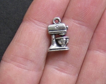 8 Baking Cooking Charms Antique  Silver Tone Mixer - SC321