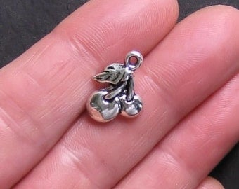10 Cherry Charms Antique  Silver Tone 2 Sided - SC090