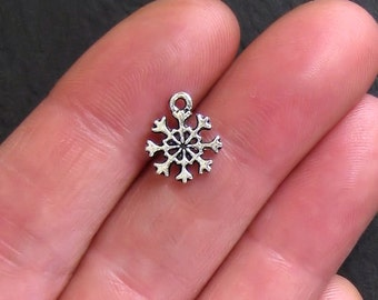12 Snowflake Charms Antique  Silver Tone 2 Sided - SC950